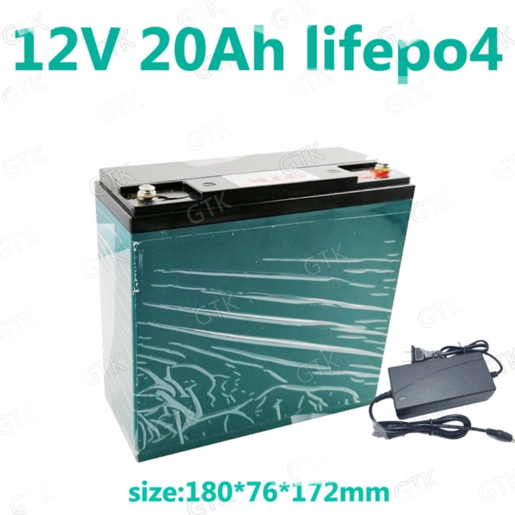 12V  20AH LiFePO4 Battery set w 3A charger