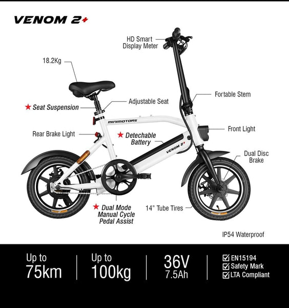 Minimotors VENOM 2 & 2+ ebikes pending LTA orange seal Certification