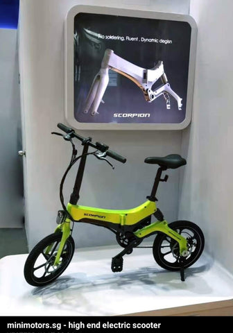 Minimotor SCORPION Food riders' foldable ebikes w rear suspension. Pending LTA approval