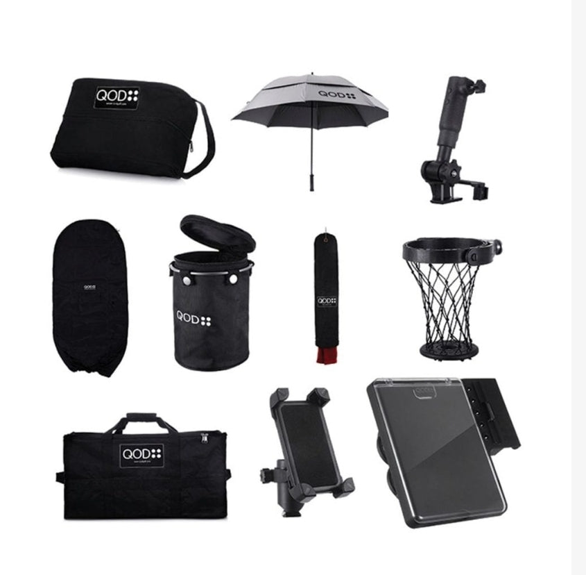 QOD electric golf trolley all accessory bundle