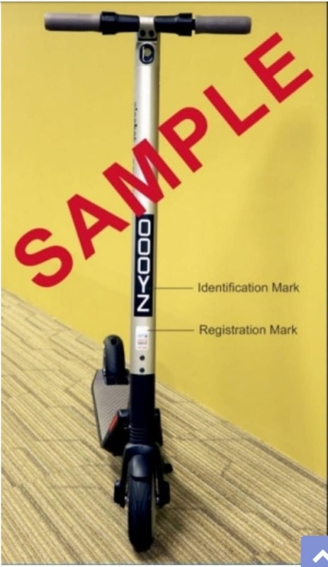 LTA escooter identification mark - sticker label by normal mail (unsecured) or registered mail