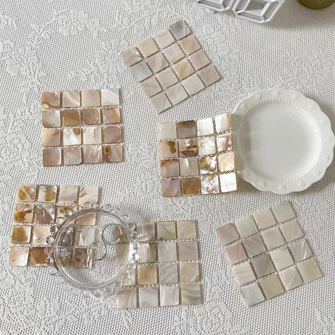 Mother of Pearl Coasters by PROSE Tabletop