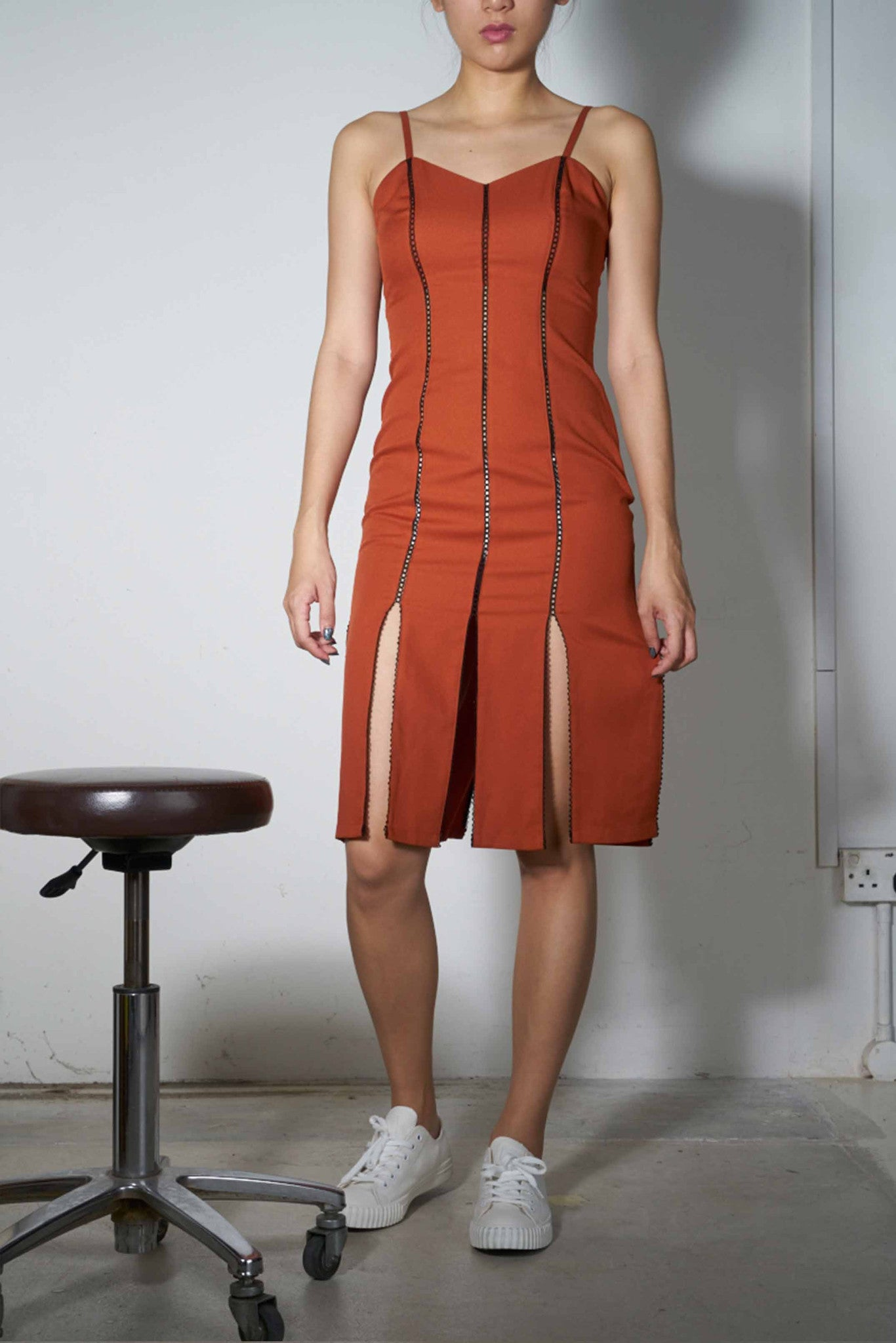 Peekapoo Peneled Slip Dress #67 - Terra Cotta