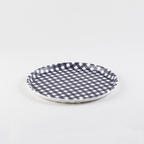 Black & White Round Linen Tray