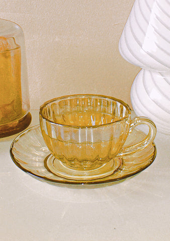 Vintage Carnival Glass Tea Cup & Saucer by PROSE Tabletop