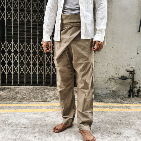 Organic Cotton Wrap Pants (Beige) by Cosmic Wonder
