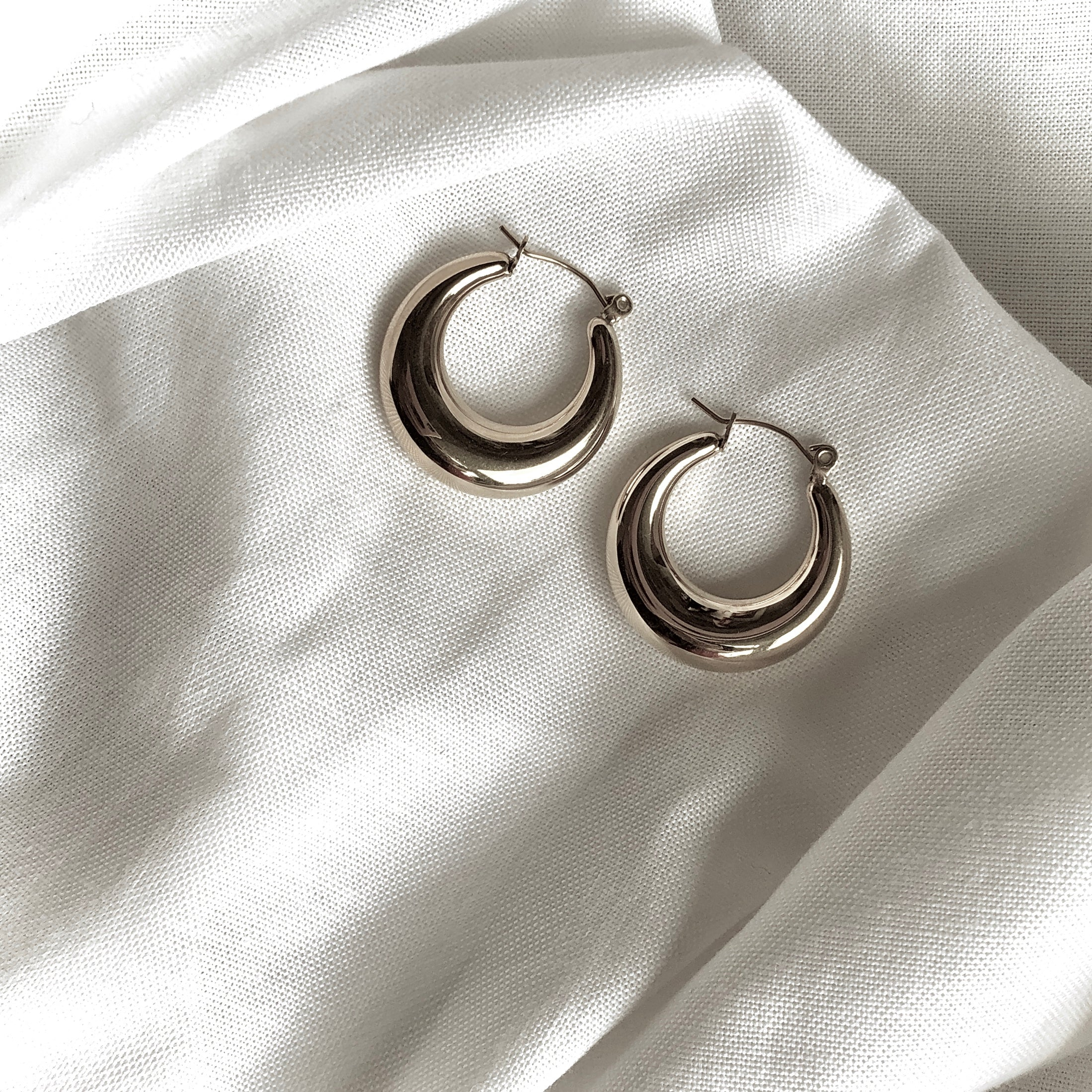 Crescent Moon Earrings by Veronique in 925 Silver