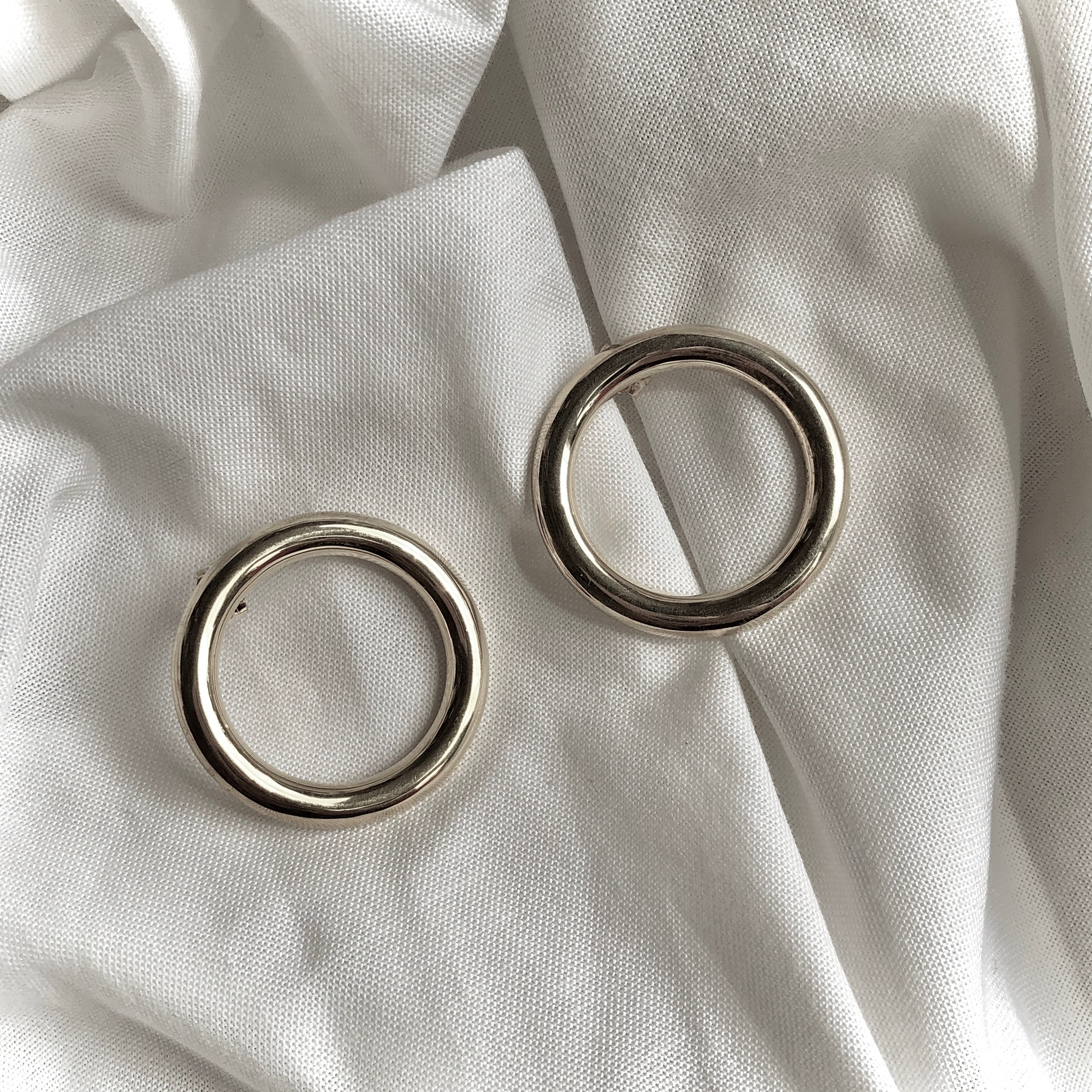 Flat Hoop Earrings by Veronique 925 Silver
