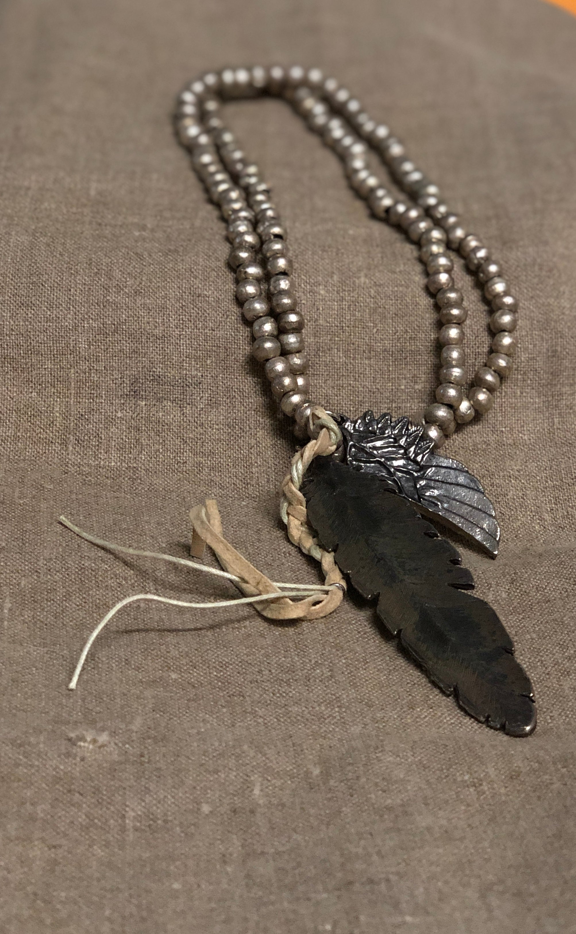 GF X MB FEATHER NECKLACE by George Frost