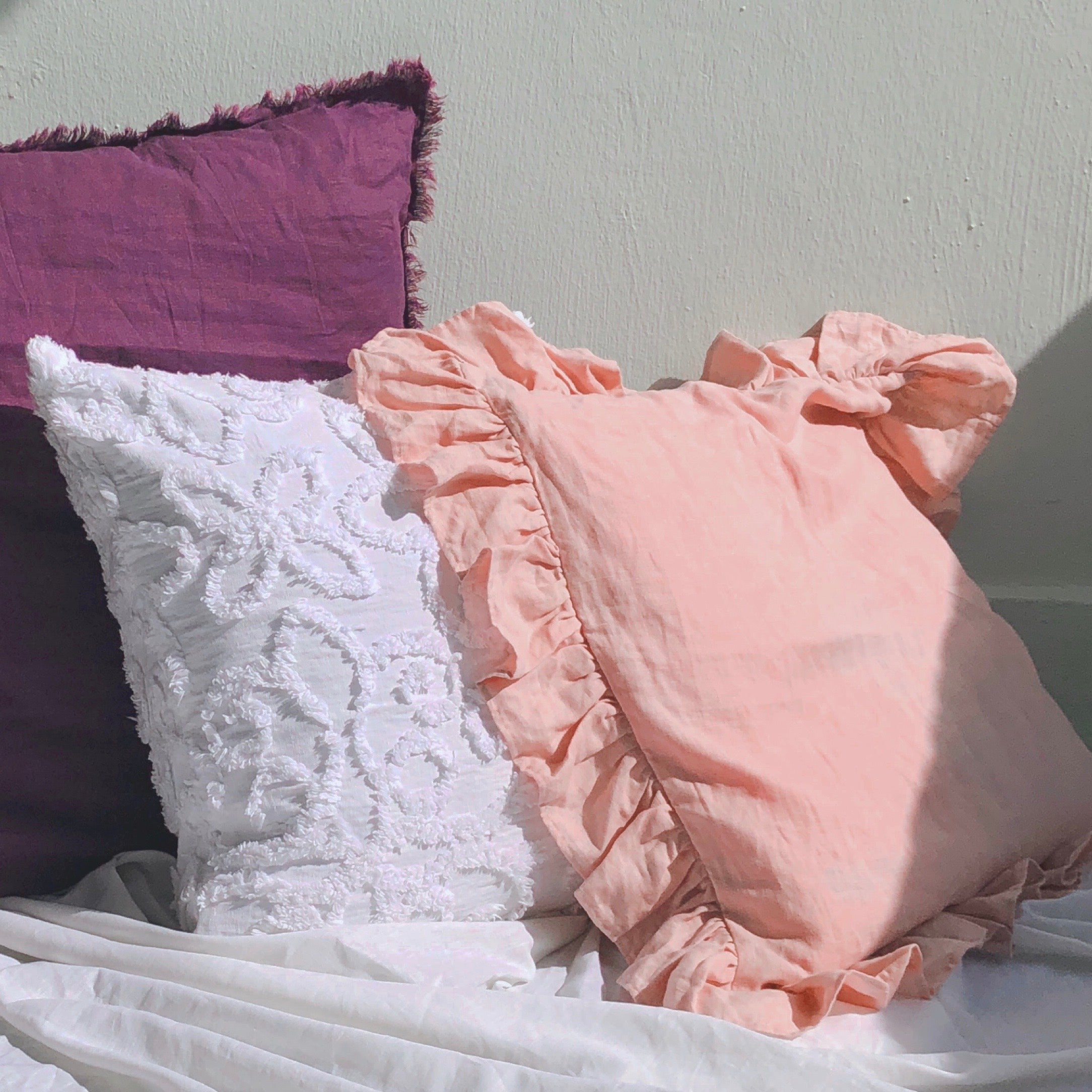 Woven Pink Ruffled Cushion Cover by PROSE Décor