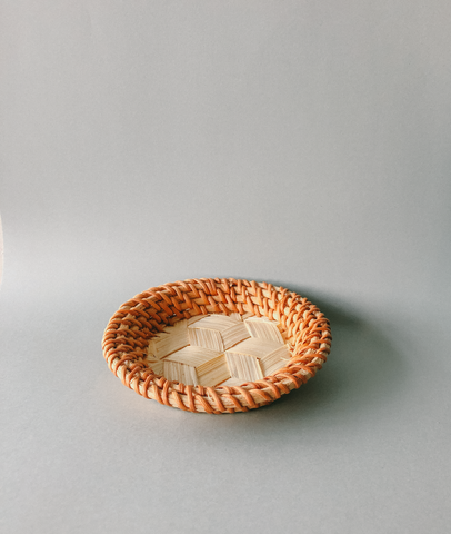 Handwoven Contrast Rattan Coasters  by PROSE Tabletop