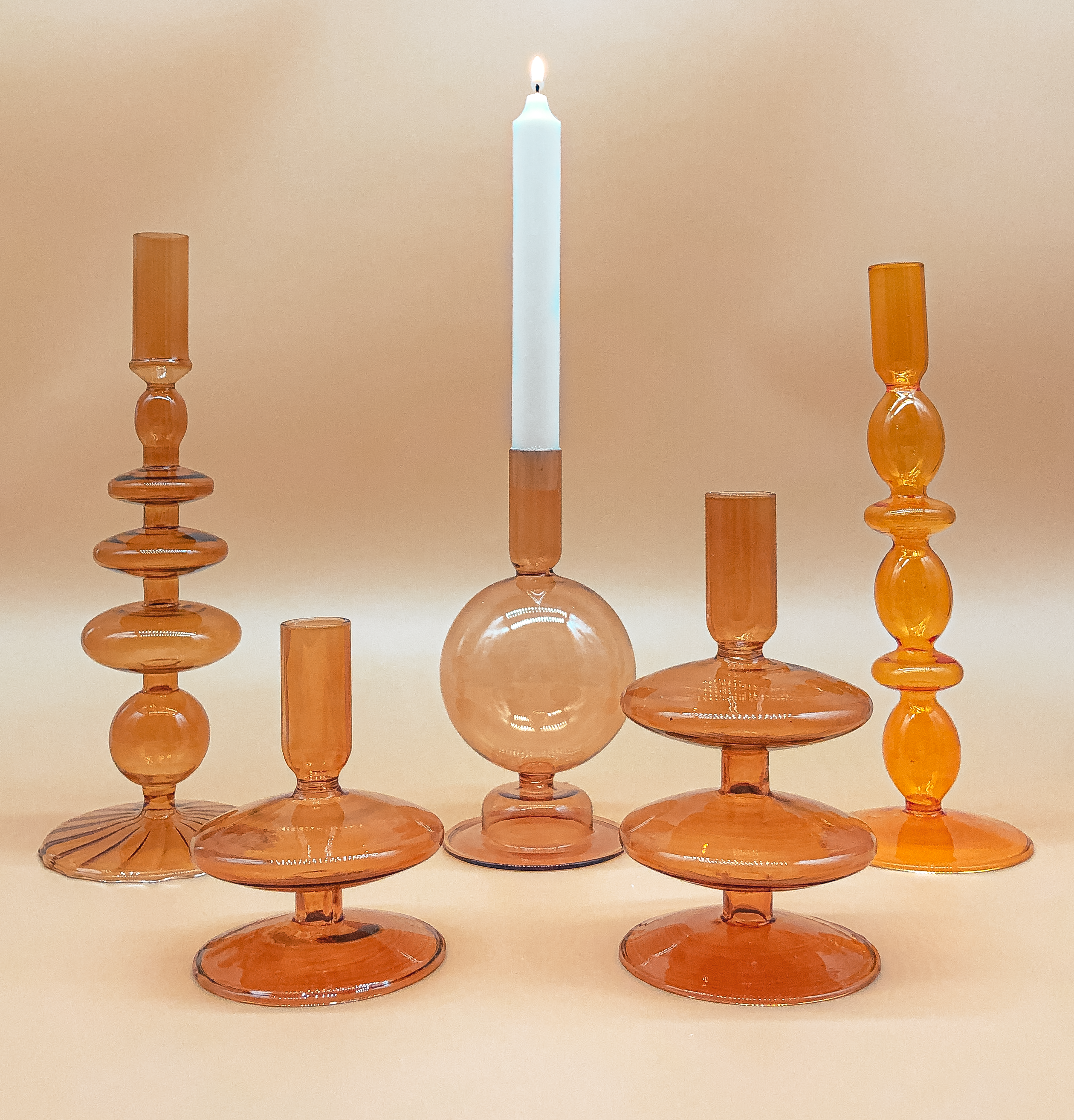 Double Decker Candle Holder in Amber by PROSE Décor