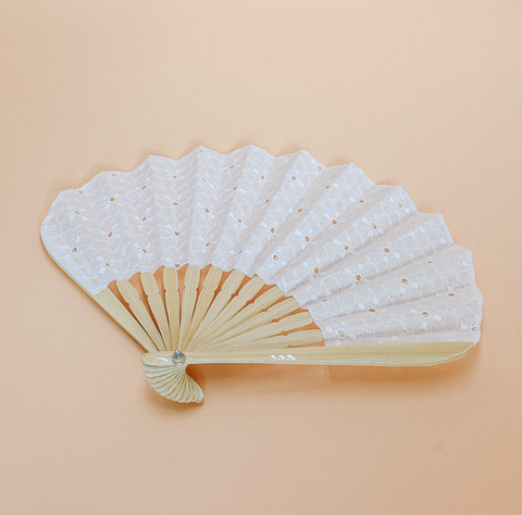 White Broderie Fan by PROSE Décor