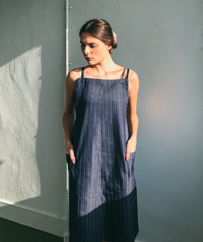 Utility Apron Dress in Denim by Ultramarine Studio