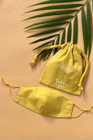Yellow Reusable Face Mask & Bag by YOTTO V.2