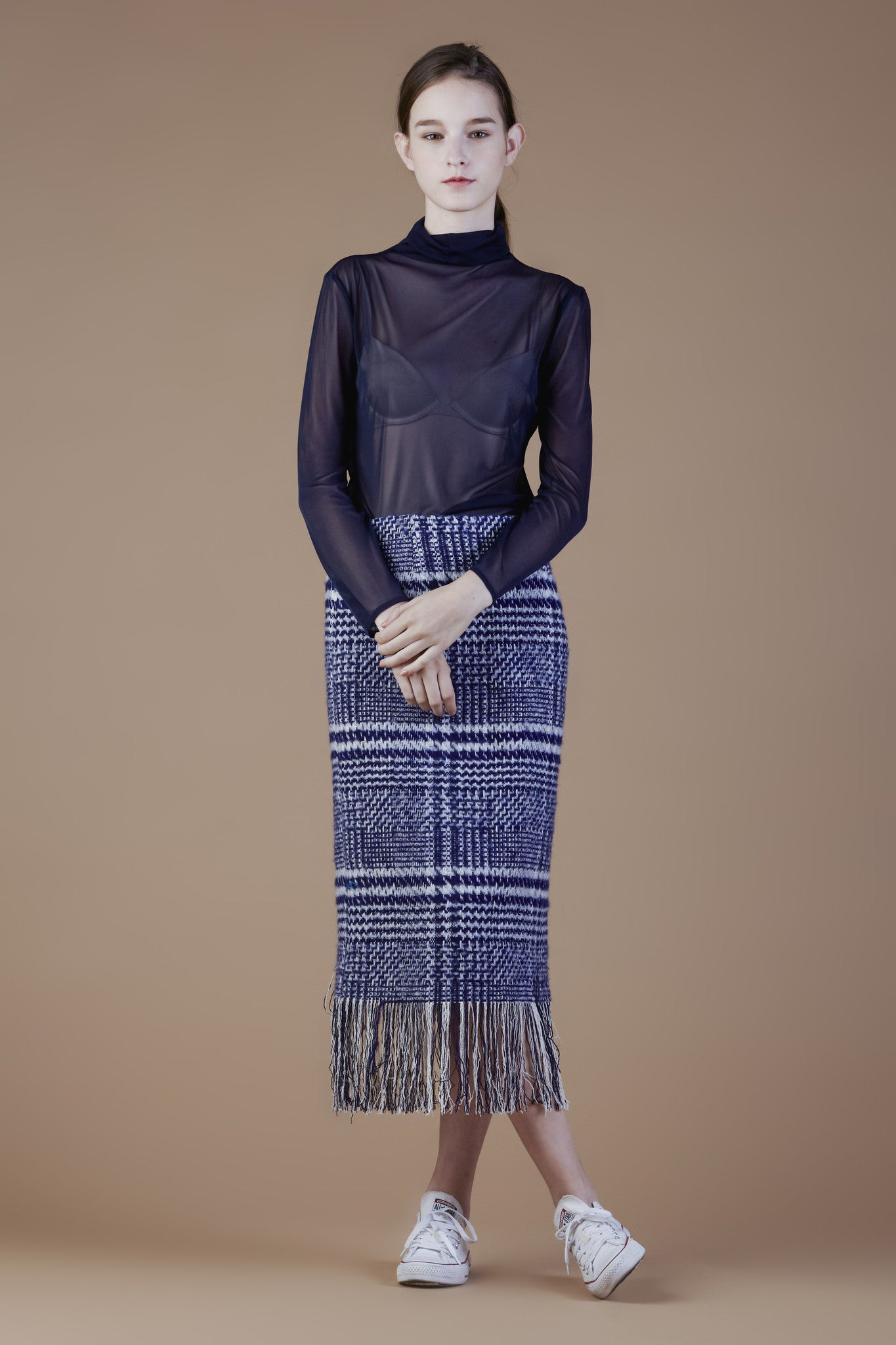 Wool Blend Tweed Pencil Skirt with Fringe #10B