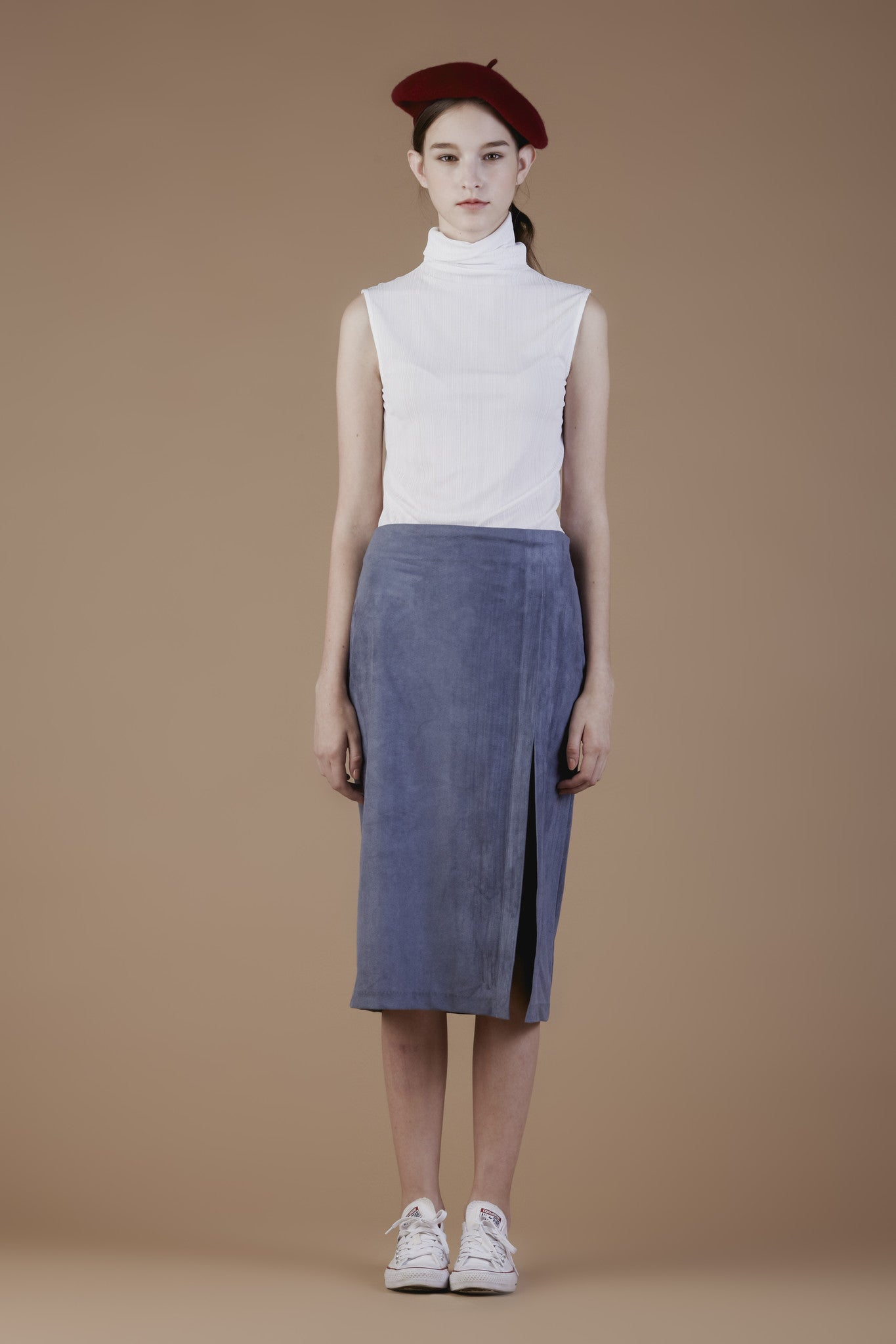 Faux-suede Side Slit skirt #11C