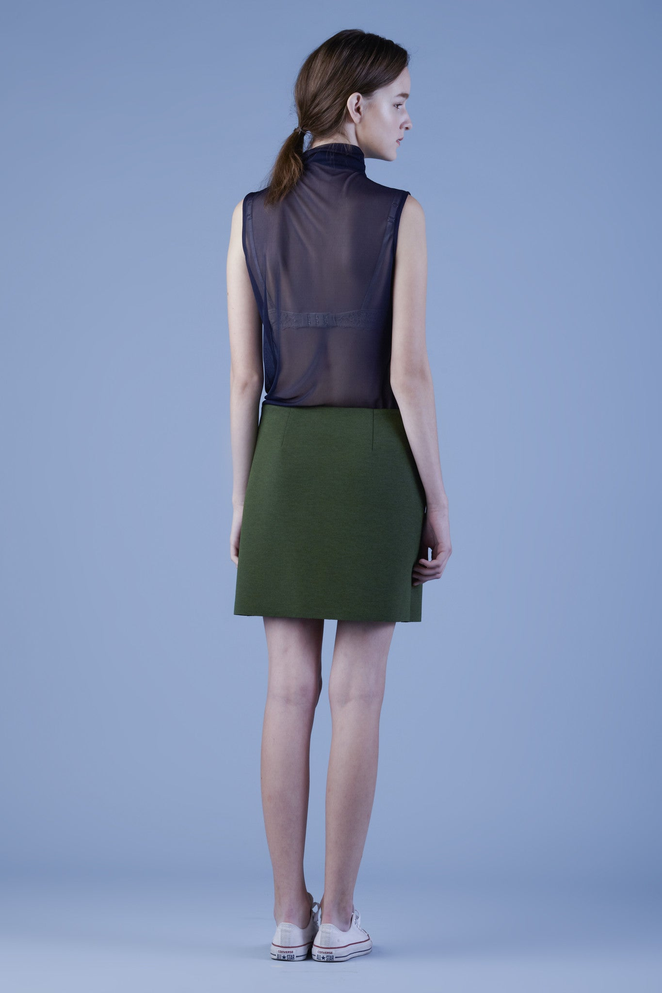 Micro Mesh Turtleneck Sleeveless Top #02