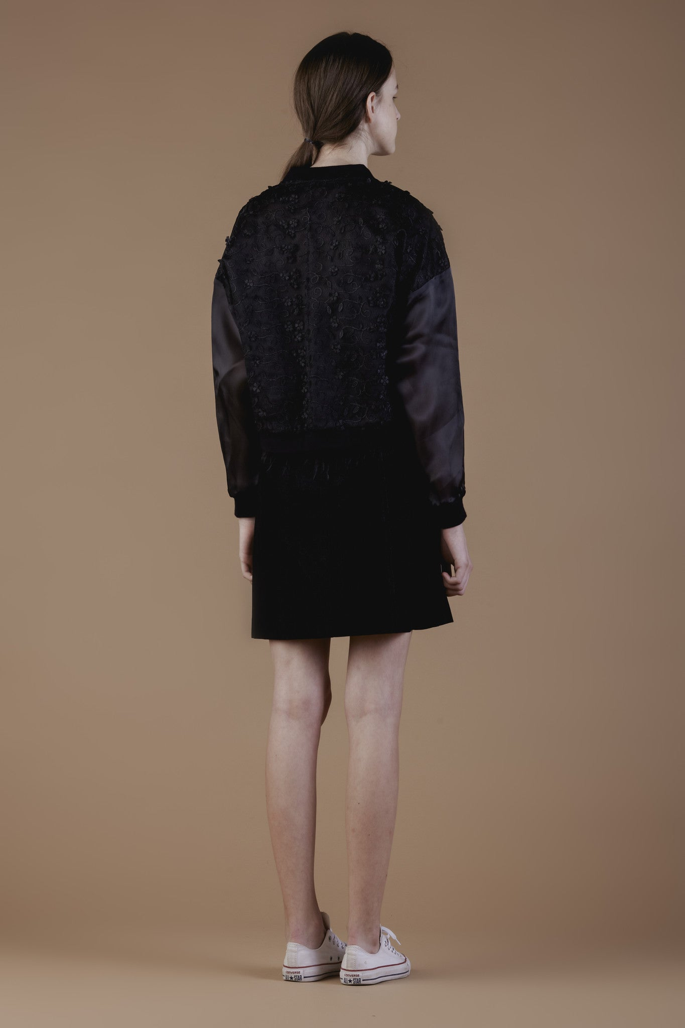 3D lace organza bomber #48B