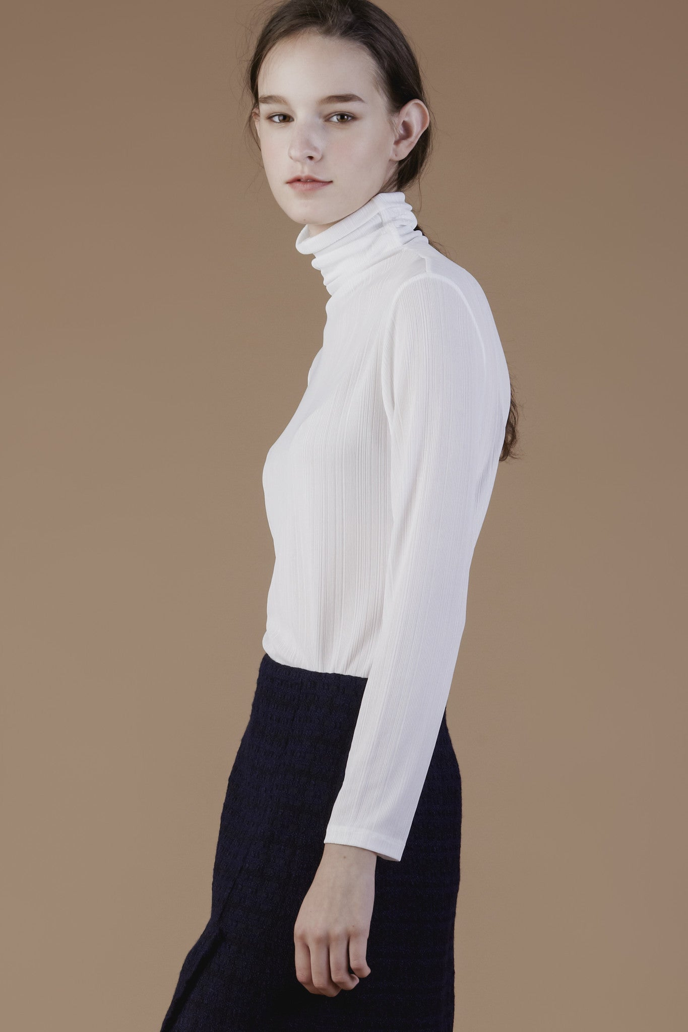 Gentle Pleats Turtle Neck Top #01