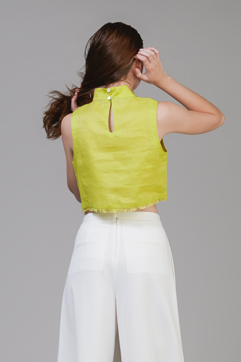 Summer Turtleneck Cropped Top in Green Linen #41