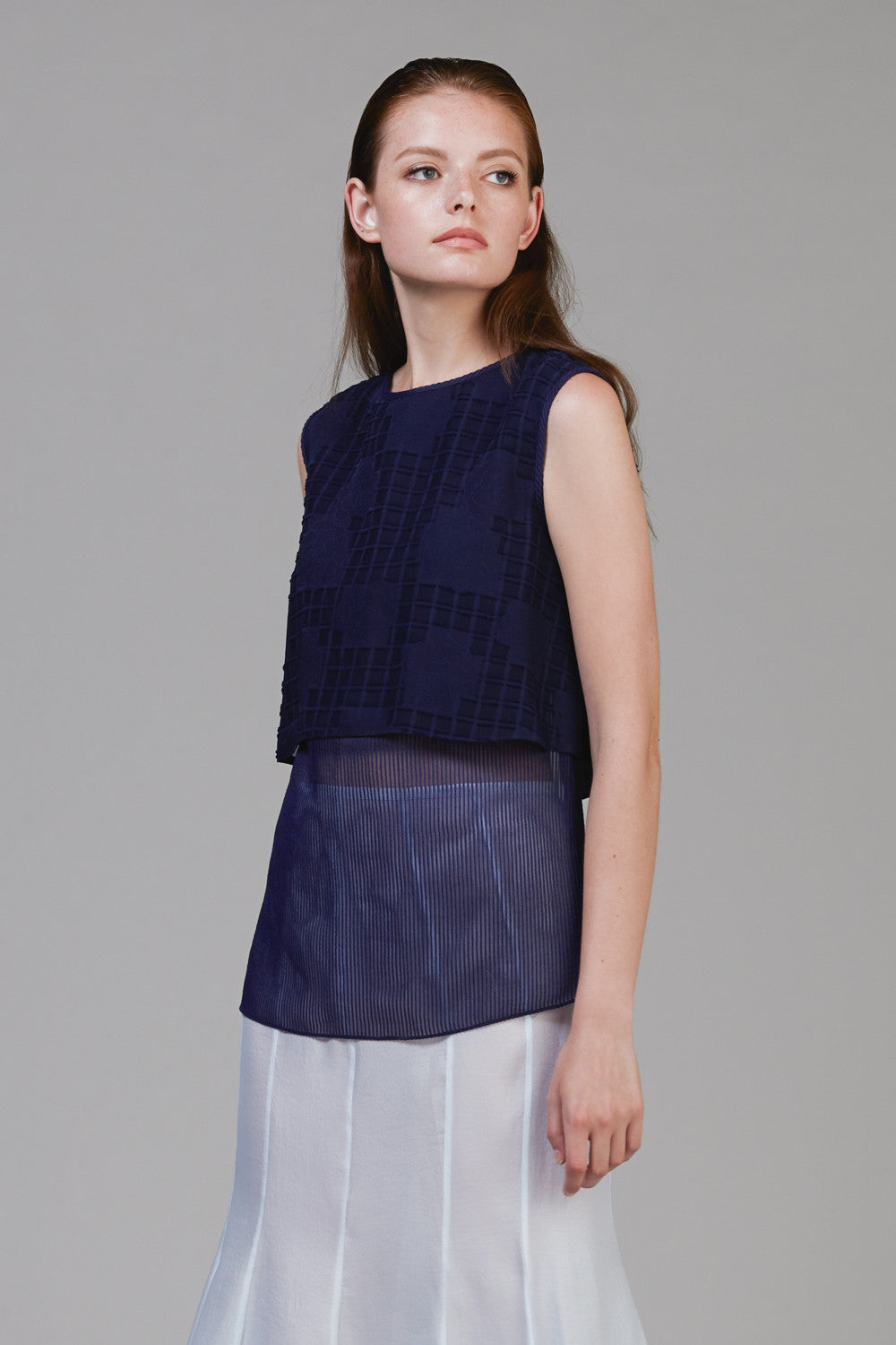 Jacquard Sheer Layered Top #05