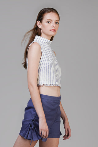 Summer Turtleneck Cropped Top In Pinstripe #41