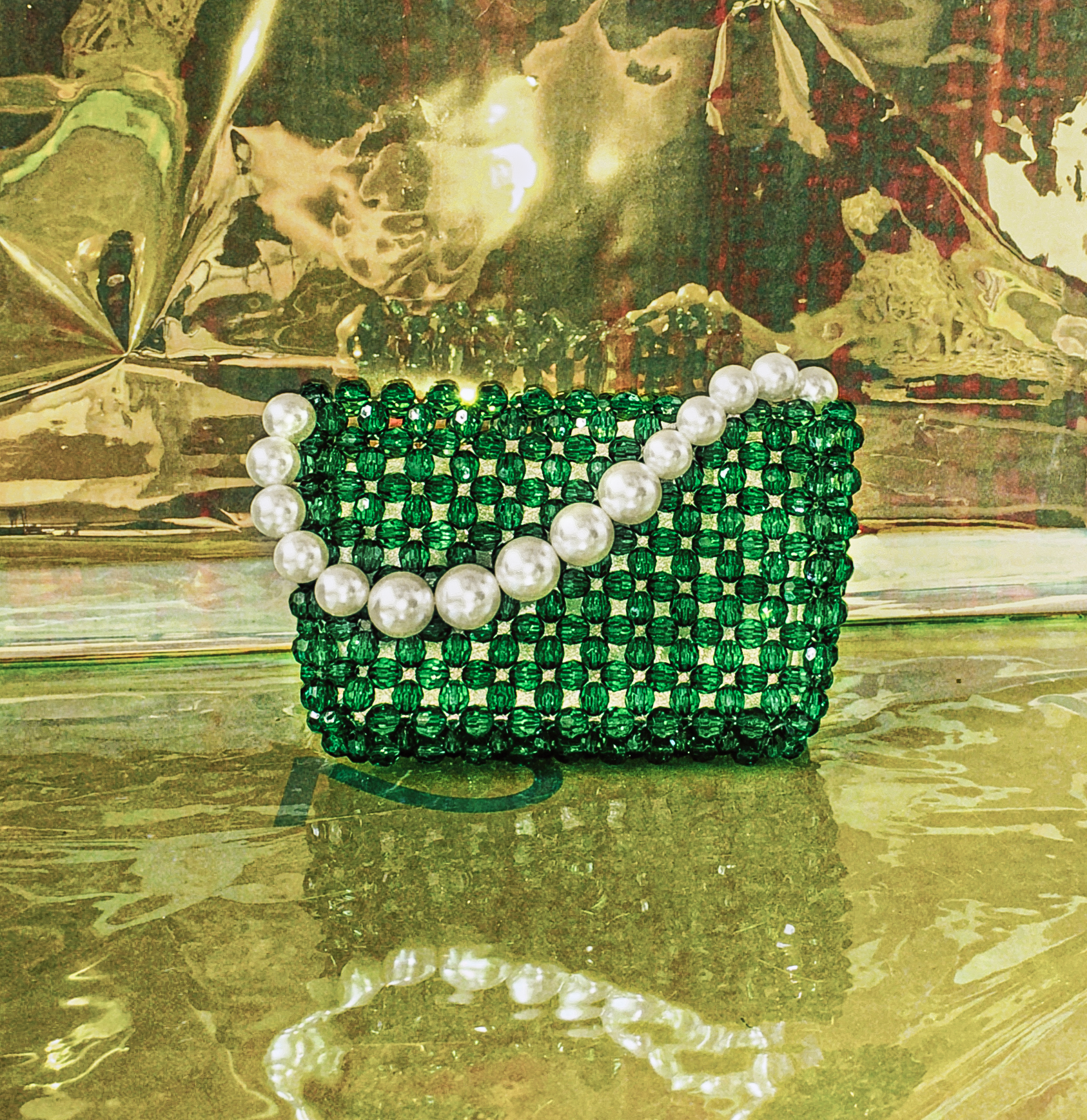 Beaded Pearl Handle Mini Clutch by Veronique