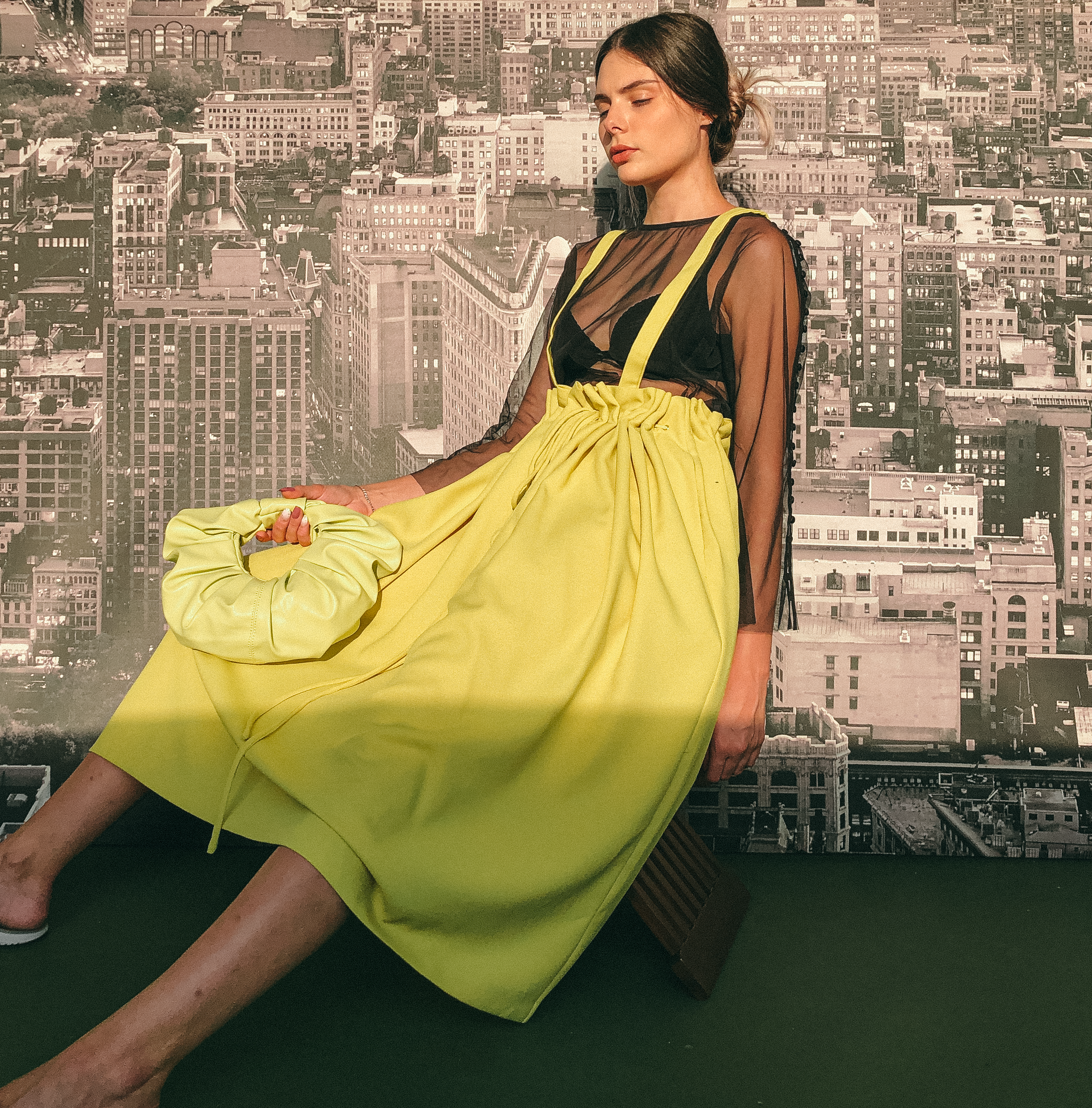 Drawstring Pinafore in Fluoro Yellow by Ultramarine Studio