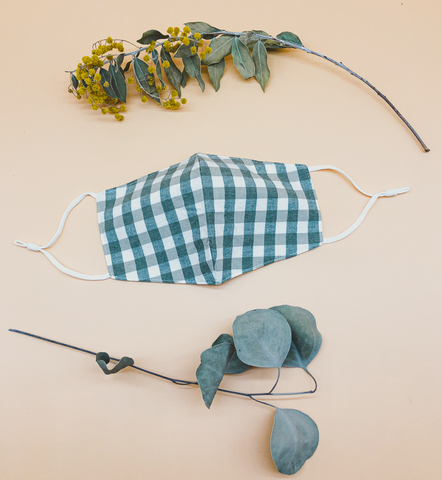 Gingham Reusable Face Mask in Sage by Veronique
