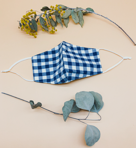 Gingham Reusable Face Mask in Navy by Veronique