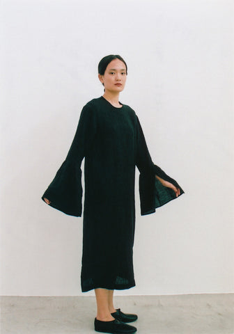 Fluted Sleeve Linen Dress by Cosmic Wonder