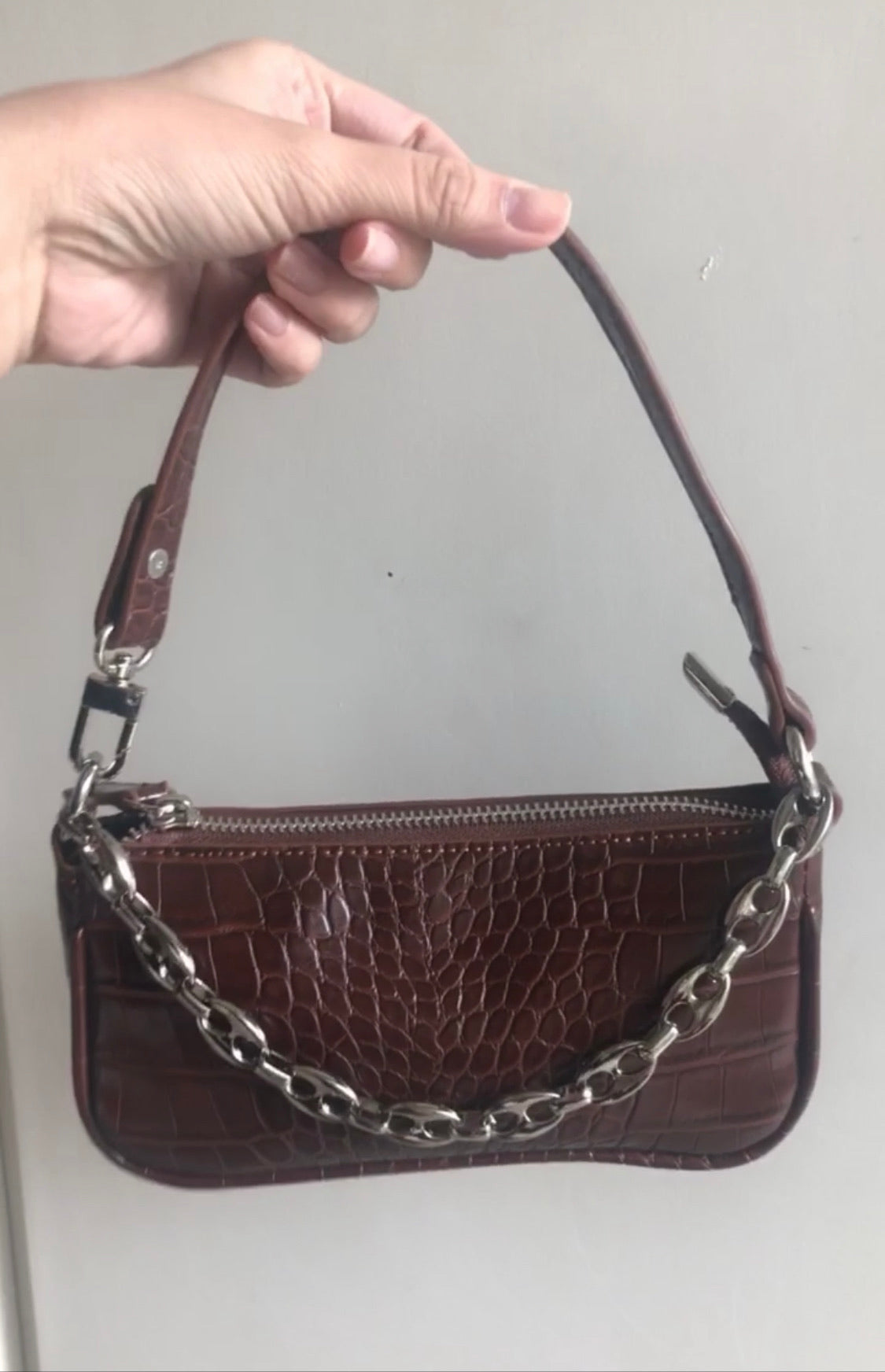 Umber Chain Baguette Bag by Veronique