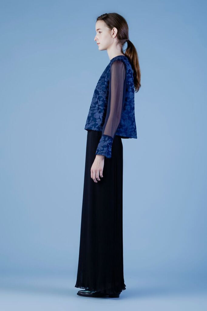 Oriental Jacquard top with illusion sleeves #07B