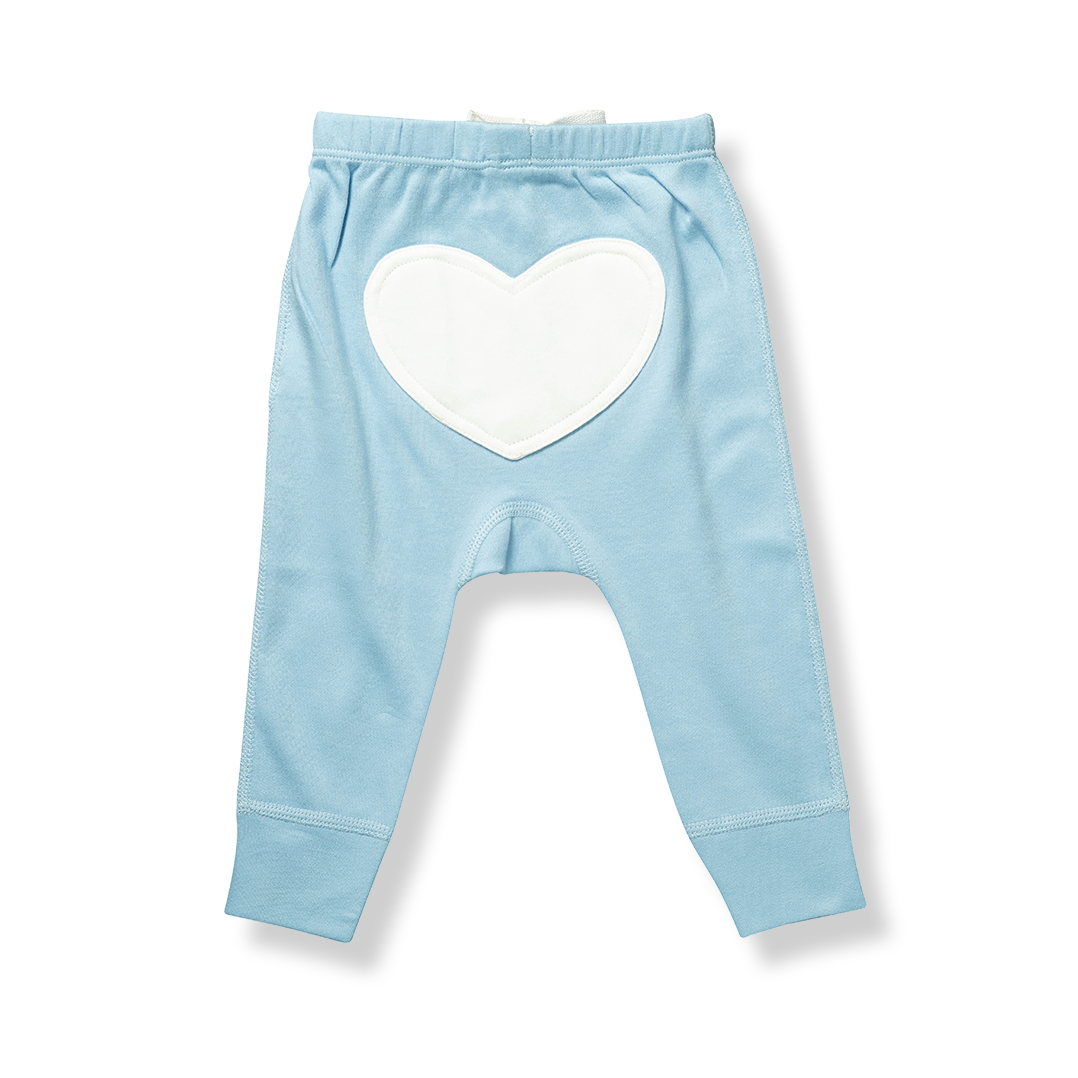 Unisex Blue Heart Pants - Sapling Organic Baby Clothes
