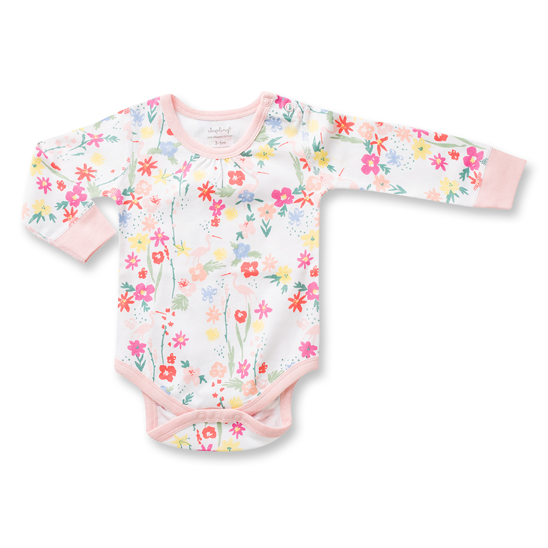5f7d55a1e Floral Long Sleeve Bodysuit - Sapling Organic Baby Clothes