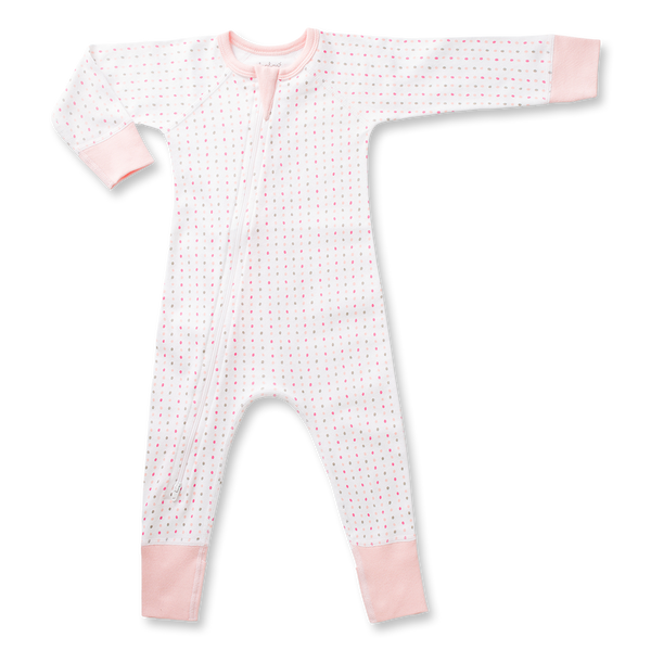 Pink Spotted Zip Romper - Sapling Organic Baby Clothes