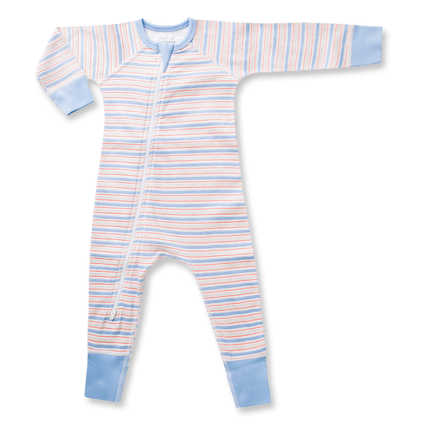 Blue Stripe Zip Romper - Sapling Organic Baby Clothes