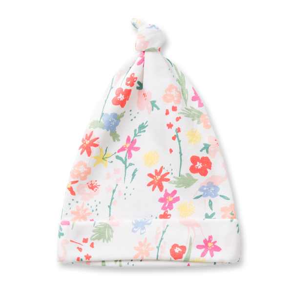 Floral Knotted Hat - Sapling Organic Baby Clothes