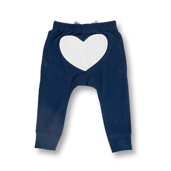 Little Bear Blue Heart Pants - Sapling Organic Baby Clothes