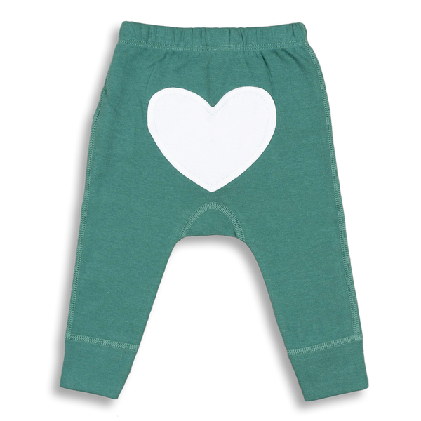 Spruce Green Heart Pants - Sapling Organic Baby Clothes