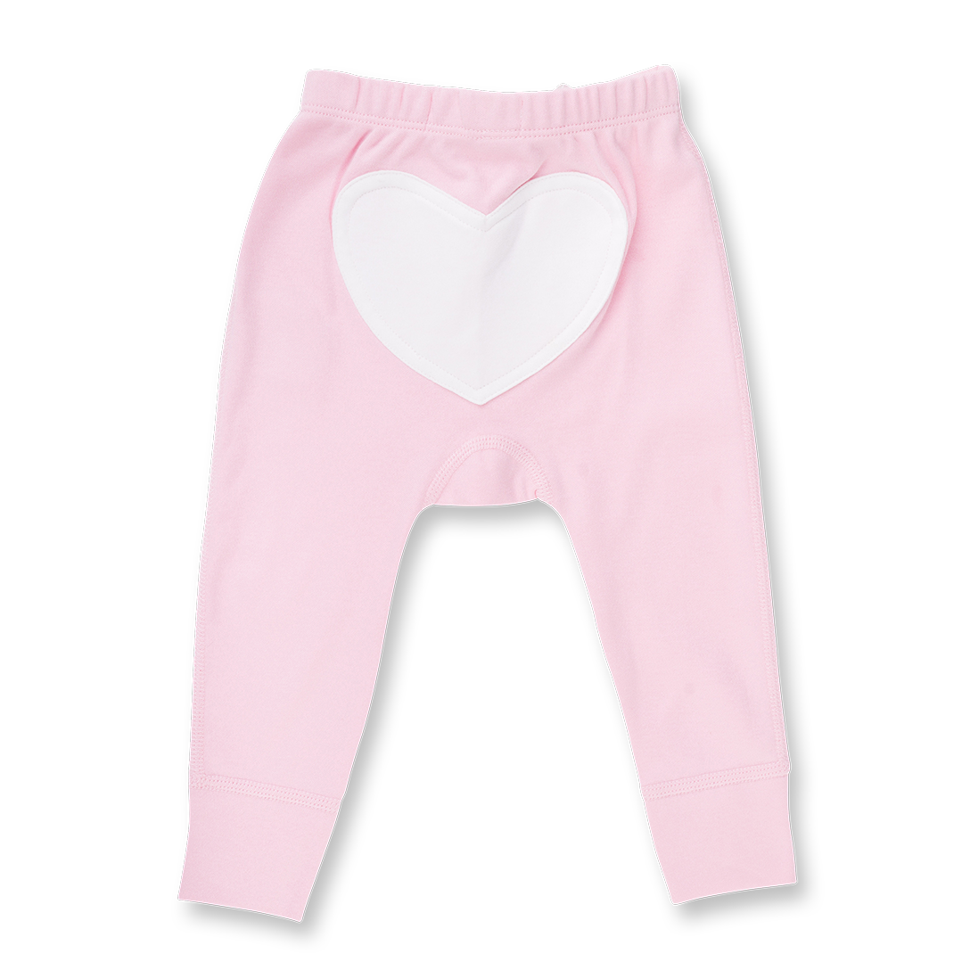 Rose Pink Heart Pants - Sapling Organic Baby Clothes