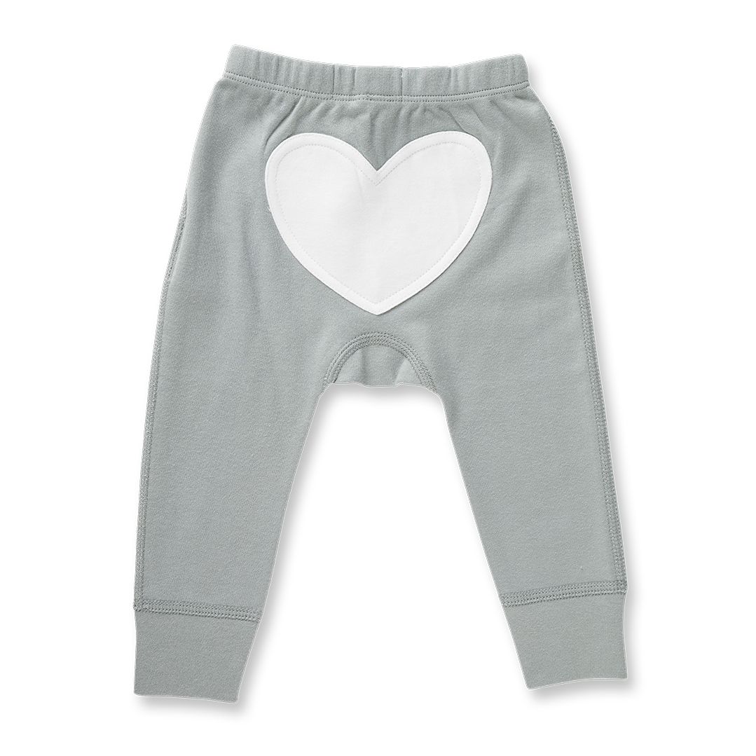 Neutral Grey Heart Pants - Sapling Child