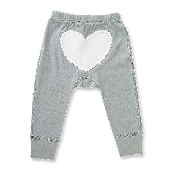 Neutral Grey Heart Pants - Sapling Organic Baby Clothes