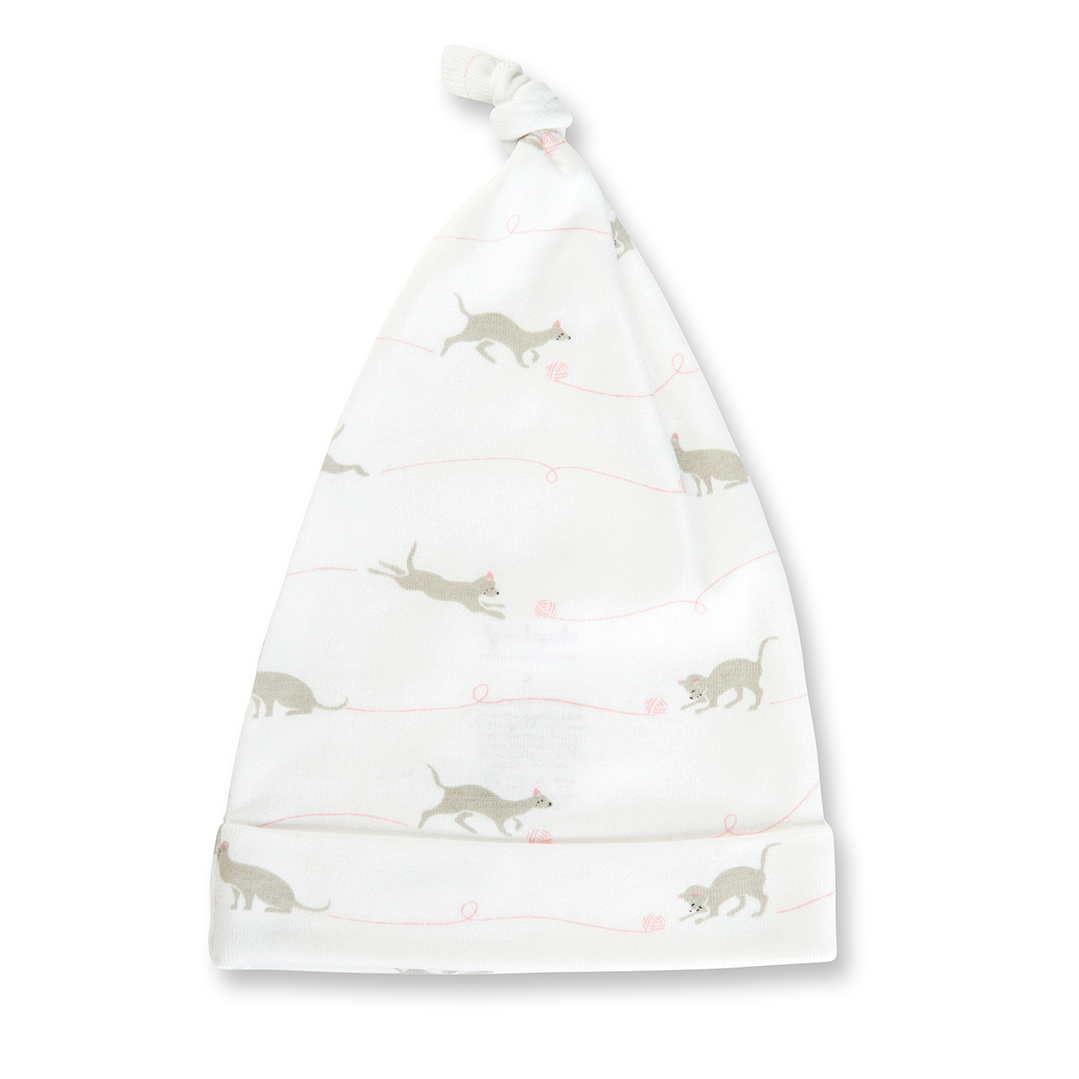 Kitten Knotted Hat - Sapling Organic Baby Clothes
