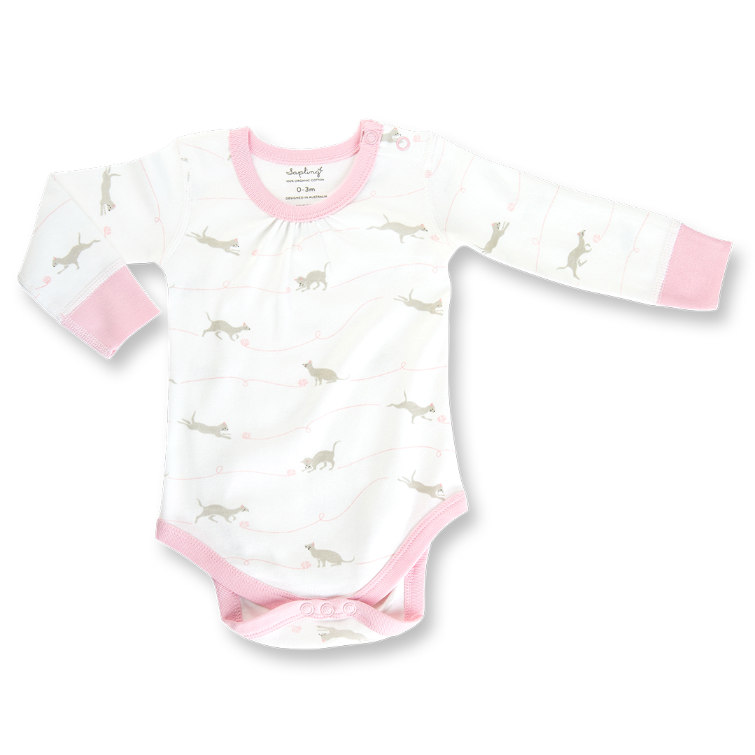 Kitten Long Sleeve Bodysuit - Sapling Organic Baby Clothes