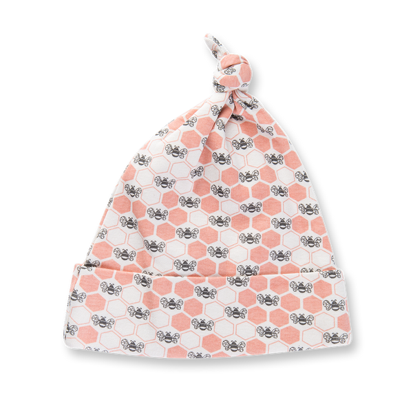 Peach Blossom Bees Knotted Hat - Sapling Organic Baby Clothes