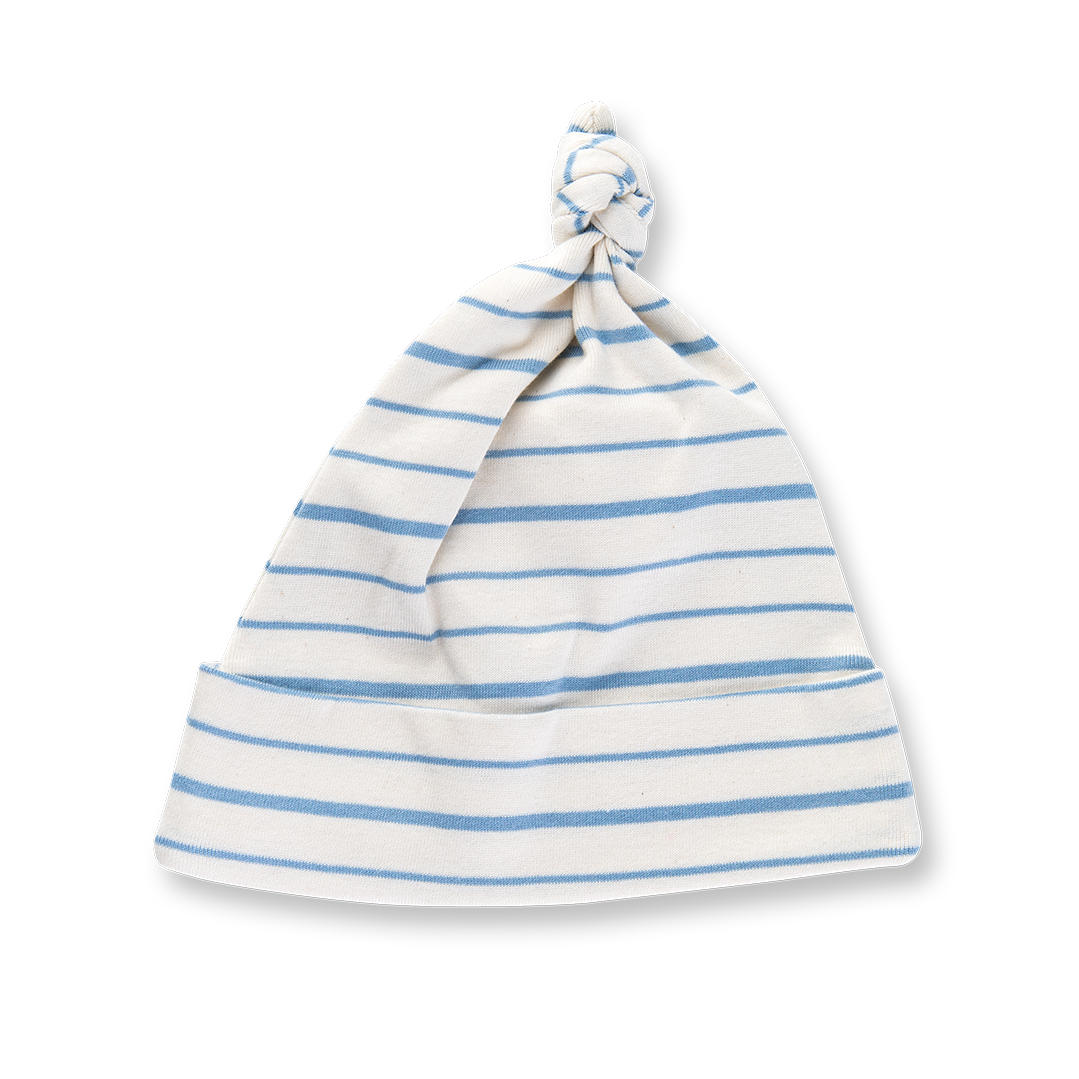 Blue French Stripe Knotted Hat - Sapling Organic Baby Clothes