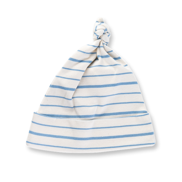 Blue French Stripe Knotted Hat - Sapling Child