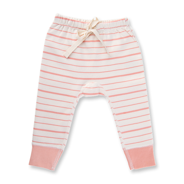 Peach French Stripe Pants - Sapling Organic Baby Clothes